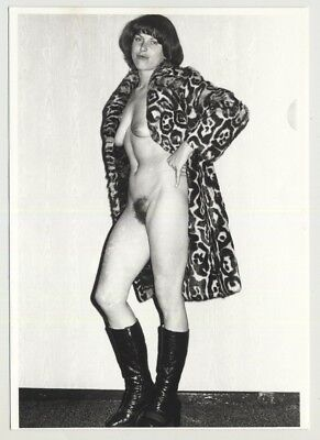 Nude Woman In Faux Fur Coat / Bush - High Boots - Small Breasts (Vintage Photo)