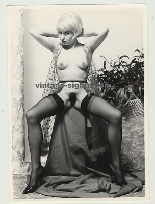Sweet Nude Girl With Suspenders - Scandinavia 1950s/1960s (Vintage Photo)