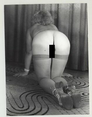 Rear View: Natural Blonde Wife Kneels On Psychedelic 70s Carpet (Vintage Photo:
