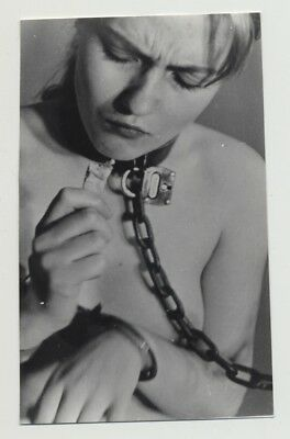Close Up Of Nude Blonde Trying To Eat / Neck In Chains - BDSM (Vintage Photo B/W
