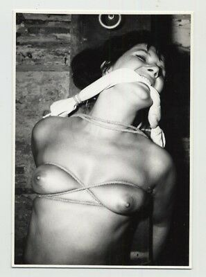 Tiny Female Nude In Bondage / Gag - Tied Breast - BDSM (Vintage Photo 1960s)