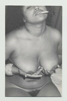 Dark Skinned Smoking Prostitute Shows Her Goods / Bush (Vintage Photo B/W)