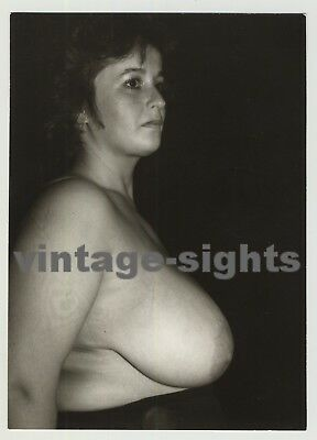 Side View Of Chubby Woman With Huge Breasts (Vintage Photo)