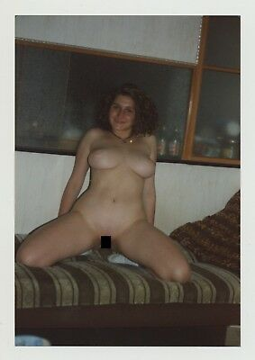 Busty Voluptuous Natural Nude Kneels On Couch (Vintage Photo)