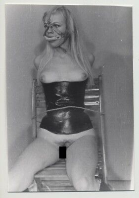 Blonde Slave Tied To Chair / Face Mask - Corset - BDSM (Vintage Photo B/W 60s)