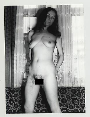Mature Darkhaired Nude In Living Room 2 / Hairy Legs & Armpits (Vintage Photo B/
