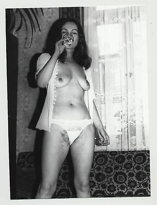 Very Hairy Mature Semi Nude Sips A Wine Glass / Saggy Breast (Vintage Photo B/W)