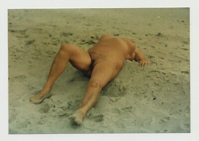 Chubby Tanned Mature Nude Rests At Beach / FKK - Busty (Vintage Photo)