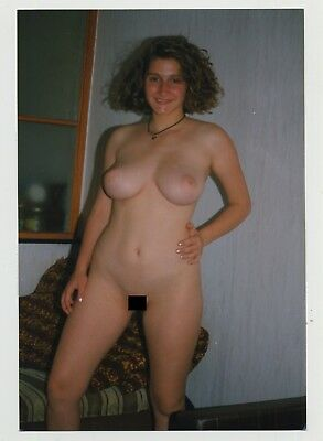 Voluptuous Natural Nude Woman / Camera Flirt - Big Breasts (Vintage Photo)
