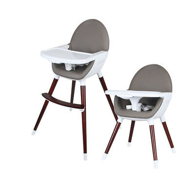 Timber Baby High Chair Feeding Wooden legs Transforms to Toddler - Dark Grey