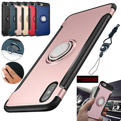 For iPhone XS X 7 8 6 Plus Magnetic Shockproof Hybrid Slim Ring Stand Case Cover