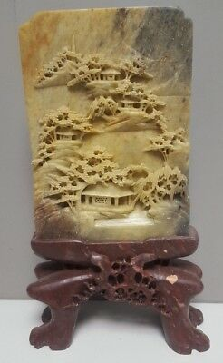 Hand Carved Chinese Soapstone Plaque Ornament