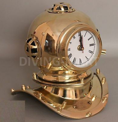 "Vintage Solid Brass Divers Helmet Clock Miniature Reproduction 8"" Decor"