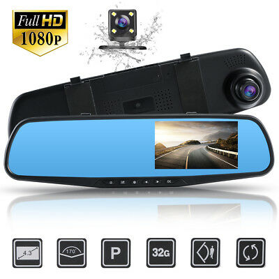 HD 1080P Dual Lens 4'' Vehicle Rearview Mirror Camera Recorder Car DVR Dash Cam
