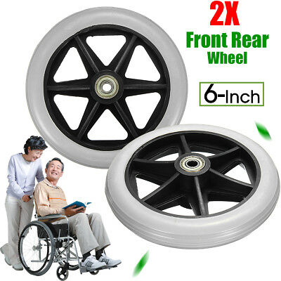 2× Replacement Parts 6'' Front Rear Wheel for Wheelchair Rollator Walker C46