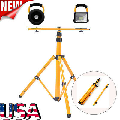 Portable Telescopic Work Flood Light With Tripod Stand Yellow Dual Halogen Bulb
