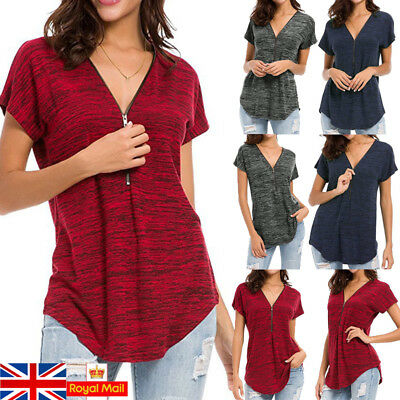 UK Women Summer Short Sleeve T-Shirt Blouse Casual Loose Ladies Tops Size 14-22