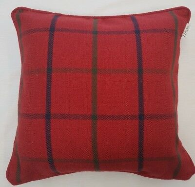 Red Wine, Blue Green Check Tartan Thick Piped Wool Cushion Cover £6.99 Each