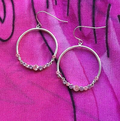 Vintage Antique Silver Pink Clear Crystal Circle Round Earrings Estate Find Vtg