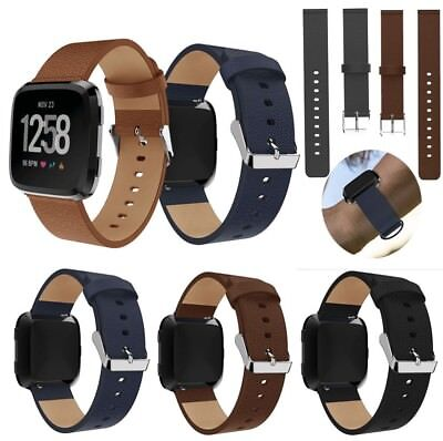 For Fitbit Versa Luxury Leather Bands Replacement Accessories Wristband Straps