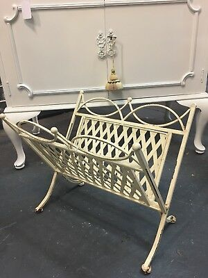 Vintage French Style Cream Wrought Iron Magazine Rack Holder
