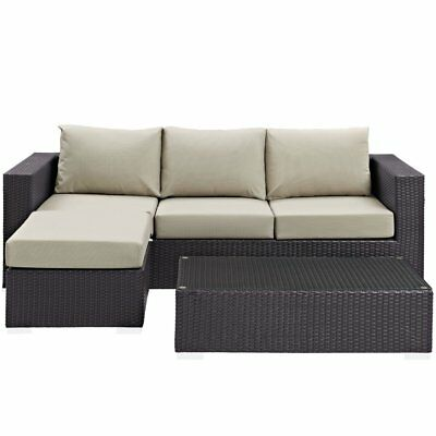Modway Convene Wicker 3 Piece Patio Chat Set