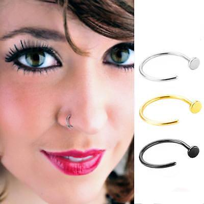 10pcs Surgical Steel Open Nose Ring Hoop Lip Ring Small Thin Piercing 5 Colours