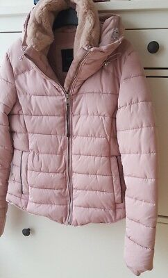 Zara Pink  Nude Pink Quilted Jacket With Hidden Hood S s 2018 Bnwt Size 0fb81b1b0