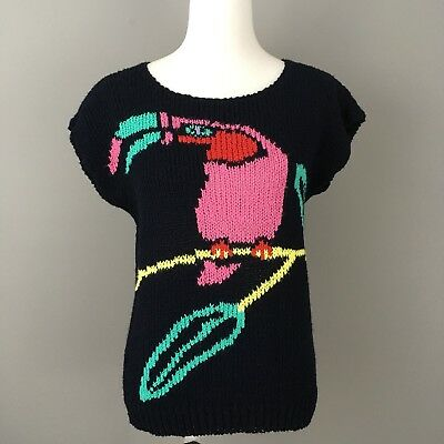 Vintage 80s Sweater Sz M Navy Blue Tropical Bird Boho Acrylic Knit Unique Segue