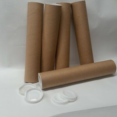 "45 QTY - 2.5"" x 13"" Cardboard Mailing Shipping Tubes w/ End Caps"