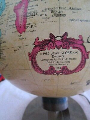Readers Digest World Antique Lighted Spot Globe With Longitude Latitude Dial