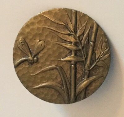 Insect Bug Bamboo Plant Antique Metal Picture Button Old Dragonfly Pictorial