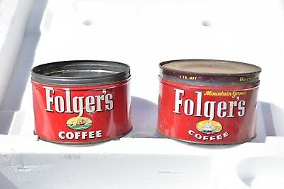 Vintage folgers coffee cans