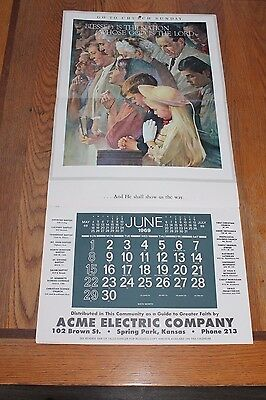Blessed is the Nation #128-392 16x33 Calendar June 1969 Brown & Bigelow CHURCH