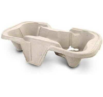 Biodegradable Pulp Fiber 2 Cup Drink Carrier Tray / Holder for Cold