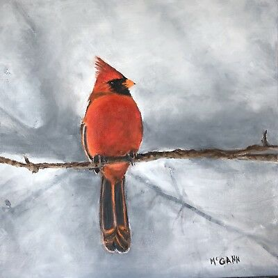 Original Oil On Canvas Painting By Artist- Red Cardinal - 12 X 12 - $225