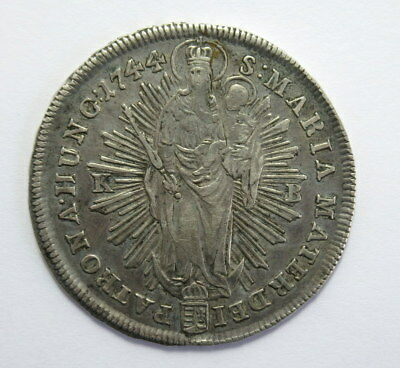 Kingdom of Hungary 1 Thaler 1744 KB Maria Theresa Silver Coin #Er
