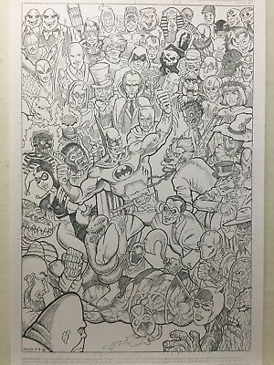 Batman, Joker, Harley Quinn, Penguin, 55 villains, original art print 11 x 17