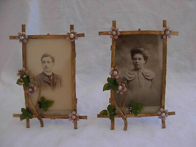Pair Of Amazing Antique French Enameled,gilded Brass Photo Frame,art Nouveau.