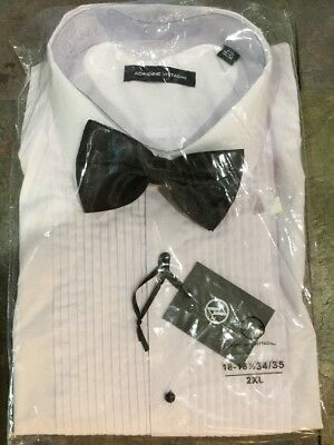 New Tuxedo Shirt Vittadini 2xl With Bow Tie, 1/8 Pleat Formal Shirt Machine Wash