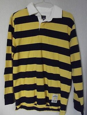 MEN'S Small AEROPOSTALE BLUE YELLOW GOLD STRIPED LONG SLEEVE POLO RUGBY SHIRT