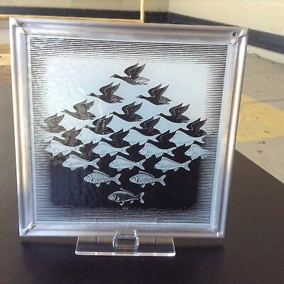 M.C. Escher Sky and Water Stained Art Glass Panel  Glassmasters