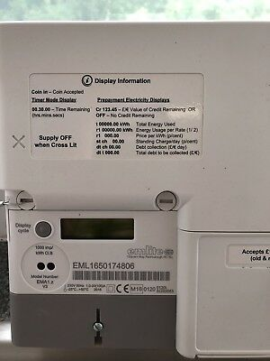 Landlords New £1  & £2 Coin Electric Meter Emlite 100amp White