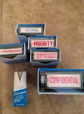Lot of 6 Self Inking Rubber Stamps – Office – Work!