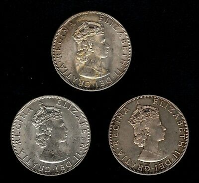 Three 1964 50% Silver Bermuda Crowns ~ In Beautiful Condition ~ Free Shipping