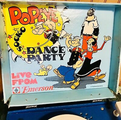 Emerson Record Player King Feature Syndicate Popeye Cartoons Dance Party vintage