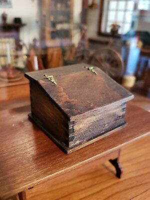 Miniature Artisan Signed Tb Slant Front Primitive Desk Bible Box Dovetailed