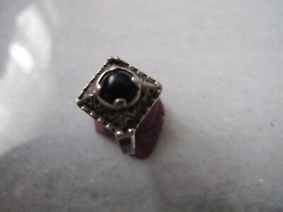 Antique Occult Silver Ring With Onyx Stone