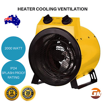 Electric Industrial Fan Heater Splash Proof Carpet Dryer Shed Workshop Garage
