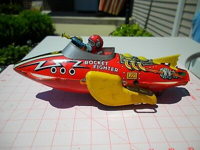 Antique Vintage Tin 1950s Marx Rocket Fighter Space Ship Toy Works Great!
